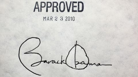 Obama's signature on the Affordable Care Act is seen at the White House in March 2010.