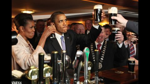 Obama enjoys a pint of Guinness in his ancestral home of Moneygall, Ireland, in May 2011.