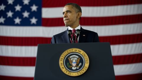 Obama delivers remarks to troops and military families at Fort Bragg, North Carolina, on December 14, 2011, marking the exit of U.S. soldiers from Iraq.