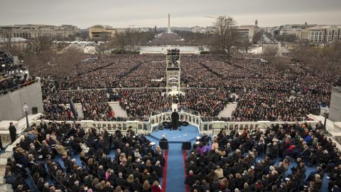 Hundreds of thousands gather at the U.S. Capitol building as Obama is inaugurated for his second term on January 21, 2013.