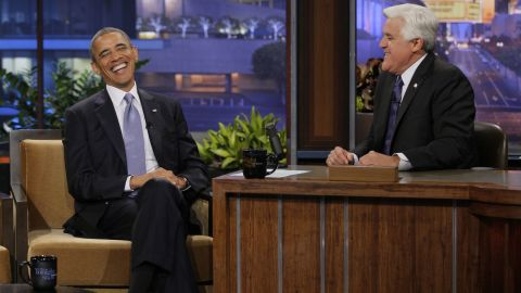 """Jay Leno interviews Obama on """"The Tonight Show"""" in August 2013."""