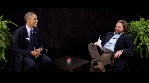 """Actor and comedian Zach Galifianakis interviews Obama during his appearance on """"Between Two Ferns,"""" a digital video series with a laser focus on reaching people aged 18 to 34. The President urged young people to sign up for his new health care plan in the video posted on the website Funny or Die."""