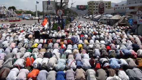 Supporters of the separatist Southern Movement perform prayers during a demonstration in Aden on Friday, February 13.
