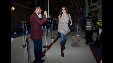 Crawford leaves Los Angeles International Airport in 2012.
