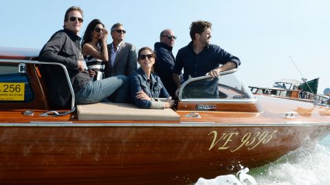 Crawford, front and Gerber arrive in Venice with Amal Alamuddin, second from left, and George Clooney in September for Clooney and Alamuddin's wedding.