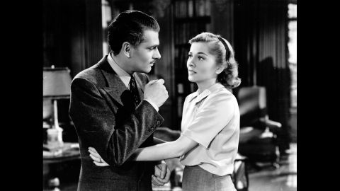 """<strong>""""Rebecca"""" (1941):</strong> After """"Gone With the Wind,"""" producer David O. Selznick scored again with another adaptation of a best-seller, Daphne du Maurier's """"Rebecca."""" He brought Alfred Hitchcock from Britain to direct Laurence Olivier and <a href=""""http://www.cnn.com/2013/12/16/showbiz/joan-fontaine-obit/"""">Joan Fontaine</a> in a tale of a shy young woman living in the shadow of her husband's first wife. """"Rebecca"""" was not only Hitchcock's first American film, but also his only one to win a best picture Oscar."""