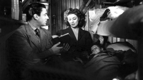 """<strong>""""Mrs. Miniver"""" (1943):</strong> Hollywood's war effort went full throttle with William Wyler's """"Mrs. Miniver"""" starring Walter Pidgeon and Greer Garson as a heroic couple whose family endures German air raids during the Battle of Britain. Garson also won the best actress award and received much flak for a lengthy acceptance speech that became the stuff of Hollywood legend."""