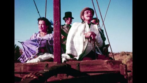 """<strong>""""Around the World in 80 Days"""" (1957): </strong>Responding to the competition from TV, the movies turned increasingly to epics in the 1950s such as producer Mike Todd's """"Around the World in 80 Days."""" The picture  was based on Jules Verne's novel and starred Shirley MacLaine, David Niven and Cantinflas as well as dozens of other celebrities in cameo roles, such as Noel Coward, Marlene Dietrich, Red Skelton and Frank Sinatra."""