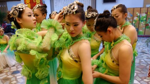 Dancers prepare for the dress rehearsal of China's biggest annual show, the New Year Gala.