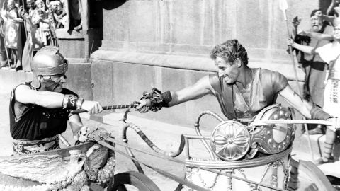 """<strong>""""Ben-Hur"""" (1960):</strong> Biblical epics were all the rage in the 1950s, and none more so than William Wyler's """"Ben-Hur."""" The movie won a then-record 11 Academy Awards, including best picture, director (Wyler) and actor (Charlton Heston, right). The chariot scene undoubtedly helped ensure <a href=""""http://www.afi.com/10top10/epic.html"""" target=""""_blank"""" target=""""_blank"""">""""Ben-Hur's"""" No. 2 ranking on the American Film Institute's list </a>of greatest epics."""