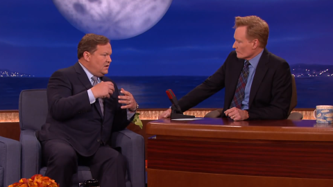 """Conan was taping his show in August 2014 when he received word that actor Robin Williams had died. The next night he and Andy Richter paid tribute to<a href=""""https://www.youtube.com/watch?v=b_6wYQC9n3U"""" target=""""_blank"""" target=""""_blank""""> """"the best talk show guest in the world</a>."""""""
