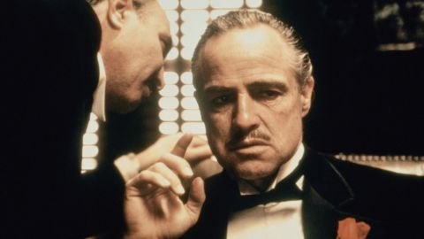 """<strong>""""The Godfather"""" (1973):</strong> With his career in decline for nearly a decade, Marlon Brando scored a comeback as Don Vito Corleone, the aging patriarch of a crime family, in Francis Ford Coppola's """"The Godfather."""" Brando won his second Oscar for best actor (which he refused), and the movie made a superstar of Al Pacino as the son who takes over the """"family business."""" The movie ranked <a href=""""http://www.afi.com/100years/movies10.aspx"""" target=""""_blank"""" target=""""_blank"""">No. 2 on the American Film Institute's list of the top 100 U.S. films.</a>"""