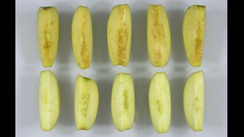 See the difference between  conventional Granny slices, top, and, Arctic Granny slices, bottom.