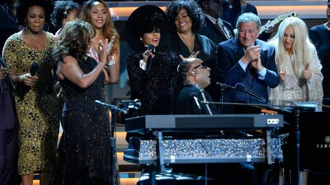 A ton of music stars paid tribute to Stevie Wonder during Monday's show.