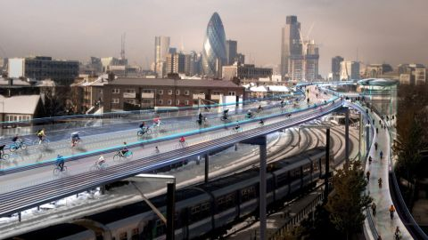 One of London's more ambitious proposals, the Norman Foster-designed elevated bike paths would use existing rail routes to shoot cyclists around the congested city. The design would comprise a total of 221km of bike paths on 10 routes, accommodating 12,000 cyclists per hour.