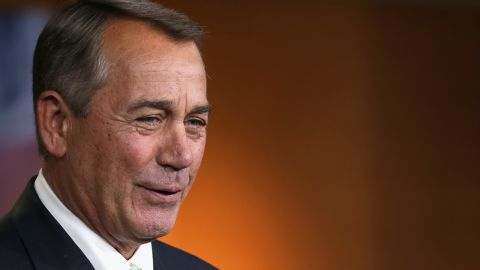WASHINGTON, DC - FEBRUARY 12: Speaker of the House John Boehner (R-OH) holds his weekly news conference in the Capitol Visitors Center at the U.S. Captiol February 12, 2015 in Washington, DC. Boehner said that President Barack Obama's request for the autorization of the use of military force against the terrorist group calling itself the Islamic State does not go far enough in outlining a path for war against gobal terrorism. (Photo by Chip Somodevilla/Getty Images)