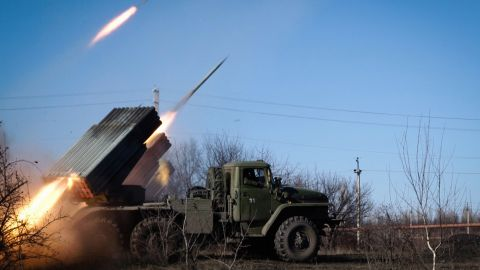 Pro-Russian rebels stationed in the eastern Ukrainian city of Gorlivka, Donetsk region, launch missiles from a Grad launch vehicle toward a position of the Ukrainian forces in Debaltseve, about 35km east of Gorlivka, on February 13, 2015. Fighting raged in Ukraine today as the clock ticked down to a ceasefire that will be a first test of Kiev and pro-Russian separatists' committment to a freshly-inked peace plan.