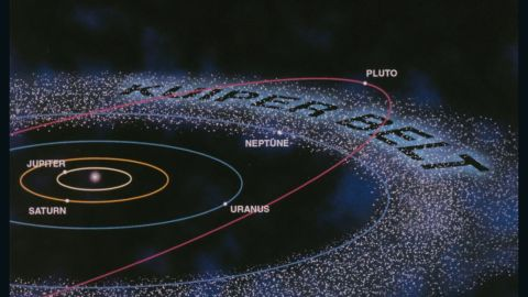 An artist's representation of the Kuiper Belt. For distance comparison: The orbits of Mercury, Venus, Earth, Mars and the asteroid belt are inside that of Jupiter.