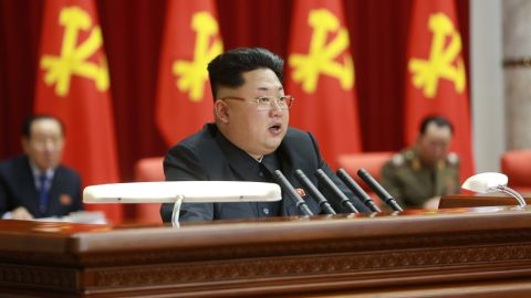 Kim  speaks during a meeting of the Political Bureau of the Central Committee of the Workers' Party of Korea in Pyongyang, North Korea, in this photo released February 19 by the state-run Korean Central News Agency.