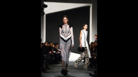 """Models Lexi Boling and <a href=""""http://www.cnn.com/2015/02/16/living/feat-molly-bair-model-nyfw/"""">Molly Bair</a> walk for Proenza Schouler's experimental collection."""