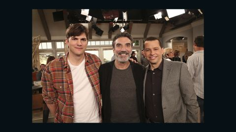 """Ashton Kutcher, from left, creator/executive producer Chuck Lorre and Jon Cryer all appeared in what many have called a downright bizarre series finale of """"Two and a Half Men."""" Some fans were unhappy that Charlie Sheen did not make an appearance."""