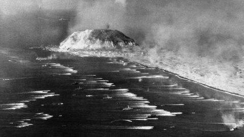 The first wave of Marines heads for the beach of Iwo Jima on February 19, 1945.