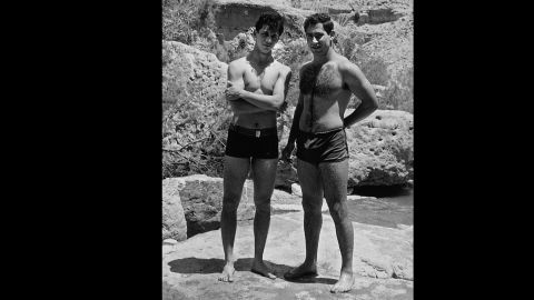 Netanyahu, right, with a friend in the Judean Desert on May 1, 1968.
