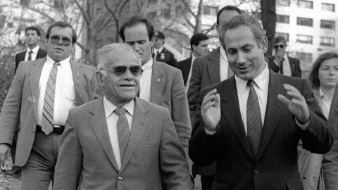 Netanyahu talks to Israeli Prime Minister Yitzhak Shamir on a stroll in New York's Central Park in November 1987.