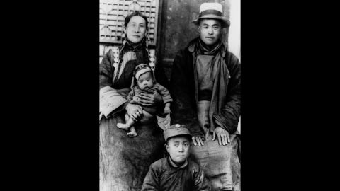 His parents were peasant farmers, pictured here with two of their other sons. In 1938, the future Dalai Lama was taken to the Kumbum monastery after he was found by a delegation of monks and correctly identified several objects that belonged to the previous Dalai Lama.
