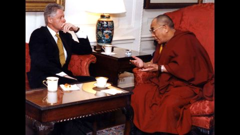 """<a href=""""https://www.cnn.com/2013/02/01/us/bill-clinton-fast-facts/index.html"""">US President Bill Clinton </a>meets with the Dalai Lama at the White House in 1998. The Dalai Lama requested assistance in opening official negotiations with China regarding the future of Tibet."""