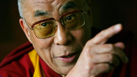 """The Dalai Lama speaks with journalists at his hotel in London in 2008. <a href=""""https://www.cnn.com/2013/07/07/world/gordon-brown-fast-facts/index.html"""">British Prime Minister Gordon Brown</a> met with him and pledged Britain's full support of reconciliation between Tibet and China."""
