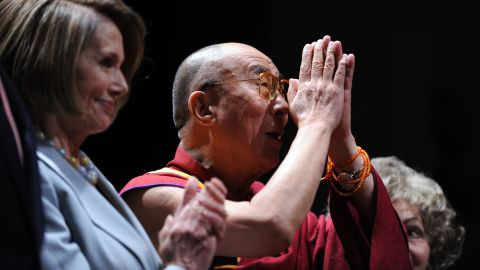 """United States House of Representatives <a href=""""https://www.cnn.com/2013/03/01/us/nancy-pelosi-fast-facts/index.html"""">Speaker Nancy Pelosi </a>awards the inaugural Lantos Human Rights Prize to the Dalai Lama in October 2009, honoring his commitment to ending global injustices."""