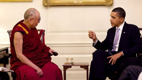 """United States <a href=""""https://www.cnn.com/2012/12/26/us/barack-obama---fast-facts/index.html"""">President Barack Obama</a> meets with the Dalai Lama at the White House on February 18, 2010."""