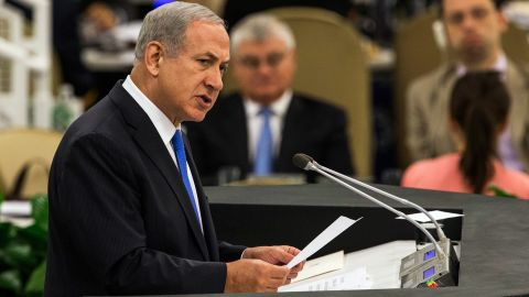 """Netanyahu speaks at the UN General Assembly on October 1, 2013. He accused Iranian President Hassan Rouhani of seeking to obtain a nuclear weapon and described him as """"a wolf in sheep's clothing, a wolf who thinks he can pull the wool over the eyes of the international community."""""""