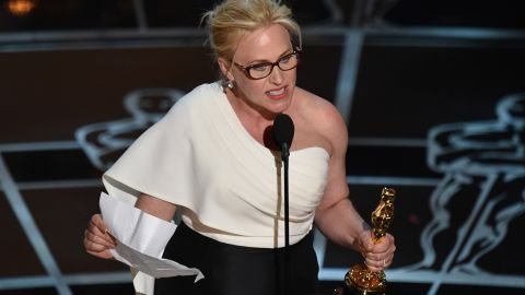 """""""Boyhood"""" co-star Patricia Arquette accepts the Oscar for best supporting actress. """"We have fought for everybody else's equal rights. It's our time to have wage equality once and for all. And equal rights for women in the United Stares of America,"""" she said to rousing applause."""