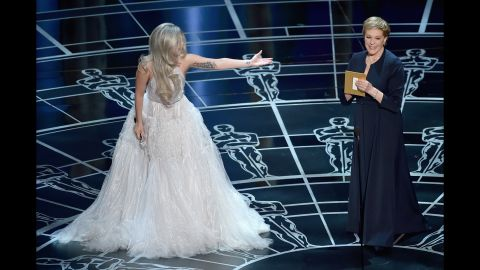"""Lady Gaga introduces Julie Andrews after singing a tribute to """"The Sound of Music."""""""