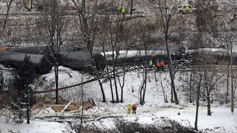 """A train hauling crude oil <a href=""""http://www.cnn.com/2015/02/17/us/west-virginia-train-derailment/index.html"""">derailed in Mount Carbon, West Virginia</a>, in February. One home was destroyed, and one person was injured."""
