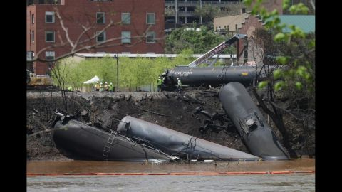"""A train full of crude oil<a href=""""http://www.cnn.com/2014/05/01/us/virginia-train-derailment/index.html""""> jumped the tracks and caught fire</a> in Lynchburg, Virginia, in May 2014. There were no injuries in the derailment, but the resulting fire sent a pillar of black smoke rising over the city of about 78,000 people and forced the evacuation of much of its downtown for several hours.<br />"""