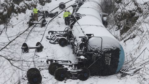 Oil tank cars overturned after a train derailment in Vandergrift, Pennsylvania, in February 2014.