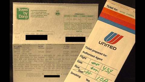 This is the airline ticket Heidi Thomas says she used to travel from Denver to Reno in 1984.