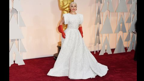 """Lady Gaga<a href=""""http://www.cnn.com/2015/02/23/entertainment/feat-oscars-2015-funny-memes/index.html""""> set social media afire </a>with her look on the 87th Annual Academy Awards red carpet. It's just one of her many amazing fashion displays. Click through for more."""