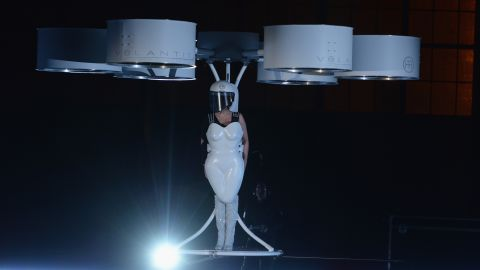 """On November 10, 2013, Lady Gaga took one small step for fashion-kind <a href=""""http://marquee.blogs.cnn.com/2013/11/11/lady-gaga-takes-flight/"""" target=""""_blank"""">and debuted a """"flying dress,""""</a> essentially a hovercraft-like device, called Volantis."""