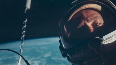Buzz Aldrin - First selfie in space, Gemini 12, November 1966