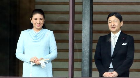 Crown Princess Masako and Crown Prince Naruhito attend the celebration for the New Year at the Imperial Palace on January 2, 2015.