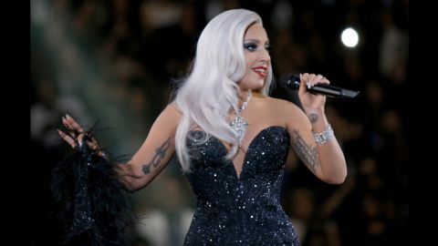 She donned a sparkly Brandon Maxwell dress for her duet with Tony Bennett at the Grammys on February 8 in Los Angeles, California.