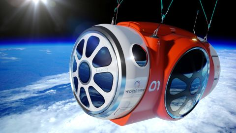 Up to six passengers would fit in World View's pressurized capsule, which will be suspended beneath a helium balloon.
