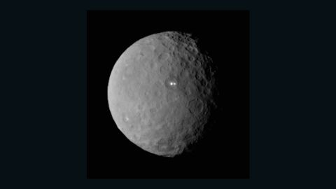 """NASA's <a href=""""http://www.nasa.gov/mission_pages/dawn/main/index.html"""" target=""""_blank"""" target=""""_blank"""">Dawn</a> spacecraft began orbiting the dwarf planet Ceres in March. Scientists were surprised by the large white spots shining on Ceres, seen above. On its way to Ceres, Dawn spent time studying the proto-planet Vesta in 2001. Ceres and Vesta are the two most massive bodies in the main asteroid belt between Mars and Jupiter. The mission, launched in 2007, is giving scientists new knowledge of how the solar system formed and evolved."""
