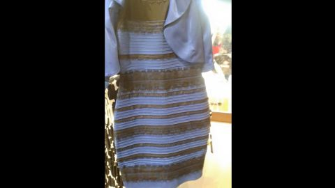 """This dress <a href=""""http://www.cnn.com/2015/02/26/us/blue-black-white-gold-dress/index.html"""">became a viral sensation</a> as people debated online about whether its colors were blue and black or white and gold."""