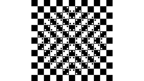 The center of this image, made only with squares, appears to bulge out, even though all of the lines are actually straight.
