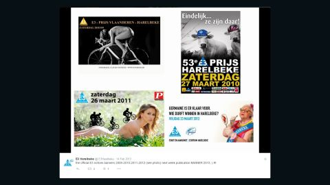 A round up of previous E3 Harelbeke posters, which appeared on the organization's Twitter feed
